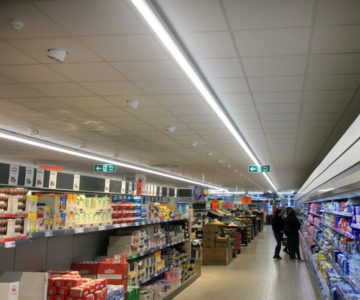 Lidl, lay-in grid ceiling